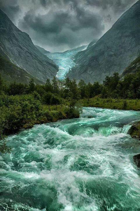 Melting glacier runoff,Norway
