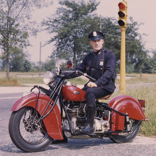 Cop on a motorcycle,1950s