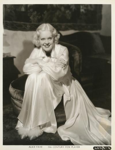 Alice Faye in loungingpajamas