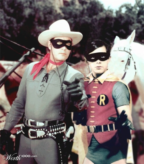 The Lone Ranger and Robin together, with matching black masks