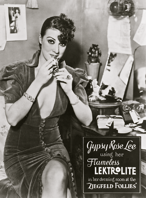Gypsy Rose Lee, using her flameless Lektrolite