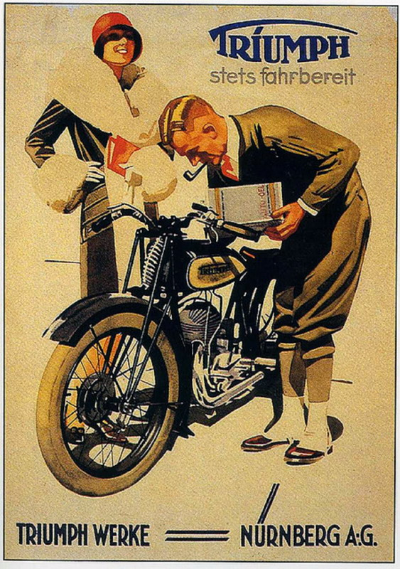 Old german poster for triumph motorcycles 1920s for Garage ad le pin