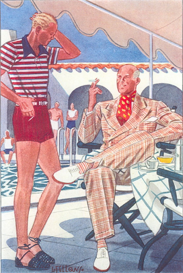 1930s Men's spa and resort wear, drawn by Bellows for Esquire