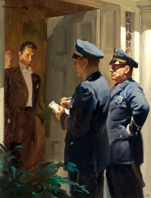 Pulp art: Police at thedoor