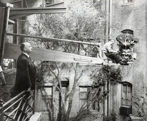 """Alfred Hitchcock on the set of """"RearWindow"""""""
