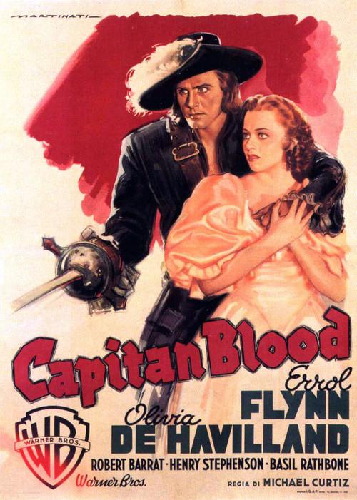 """Errol Flynn and Olivia DeHavilland in """"CaptainBlood"""""""