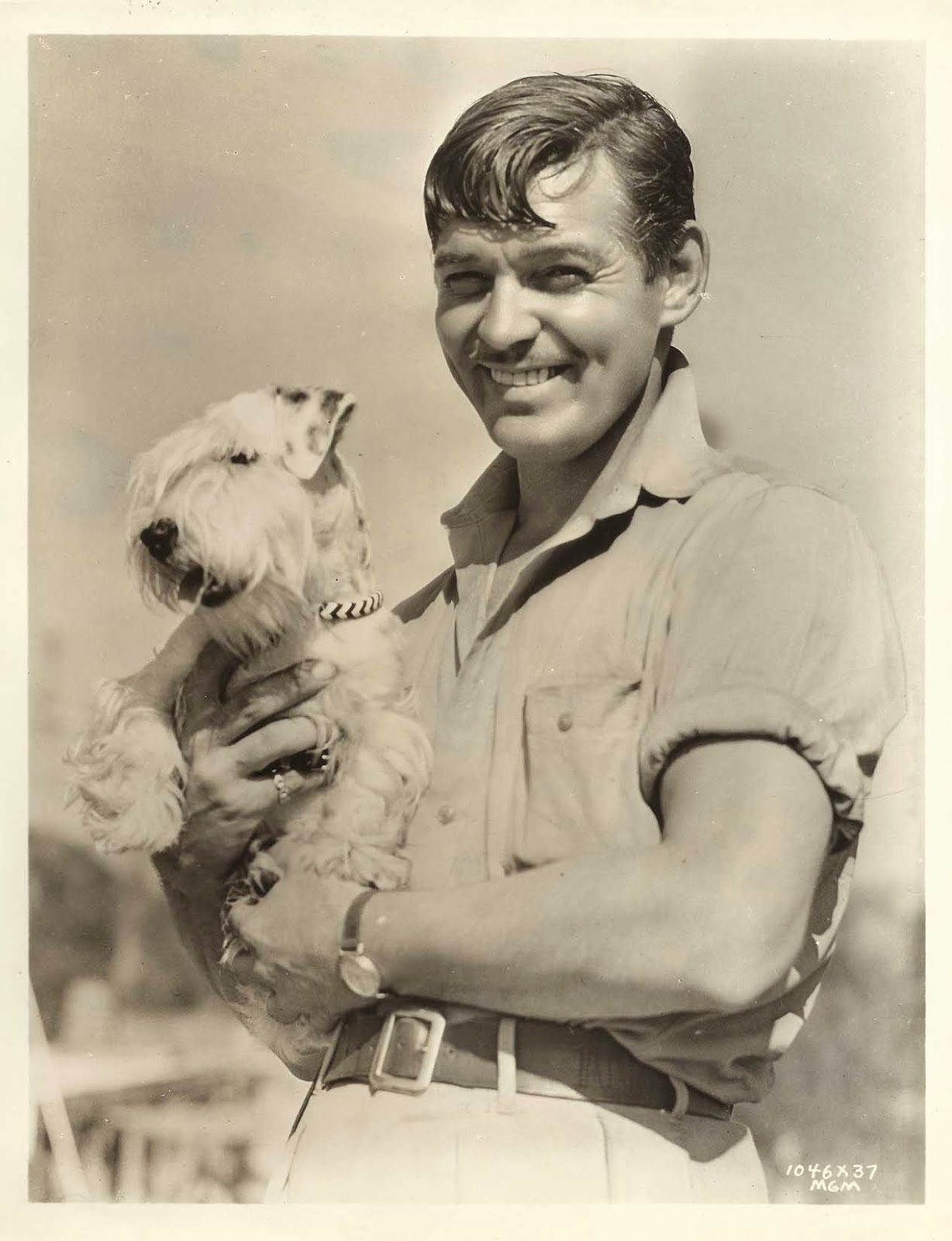 Clark Gable and a puppy
