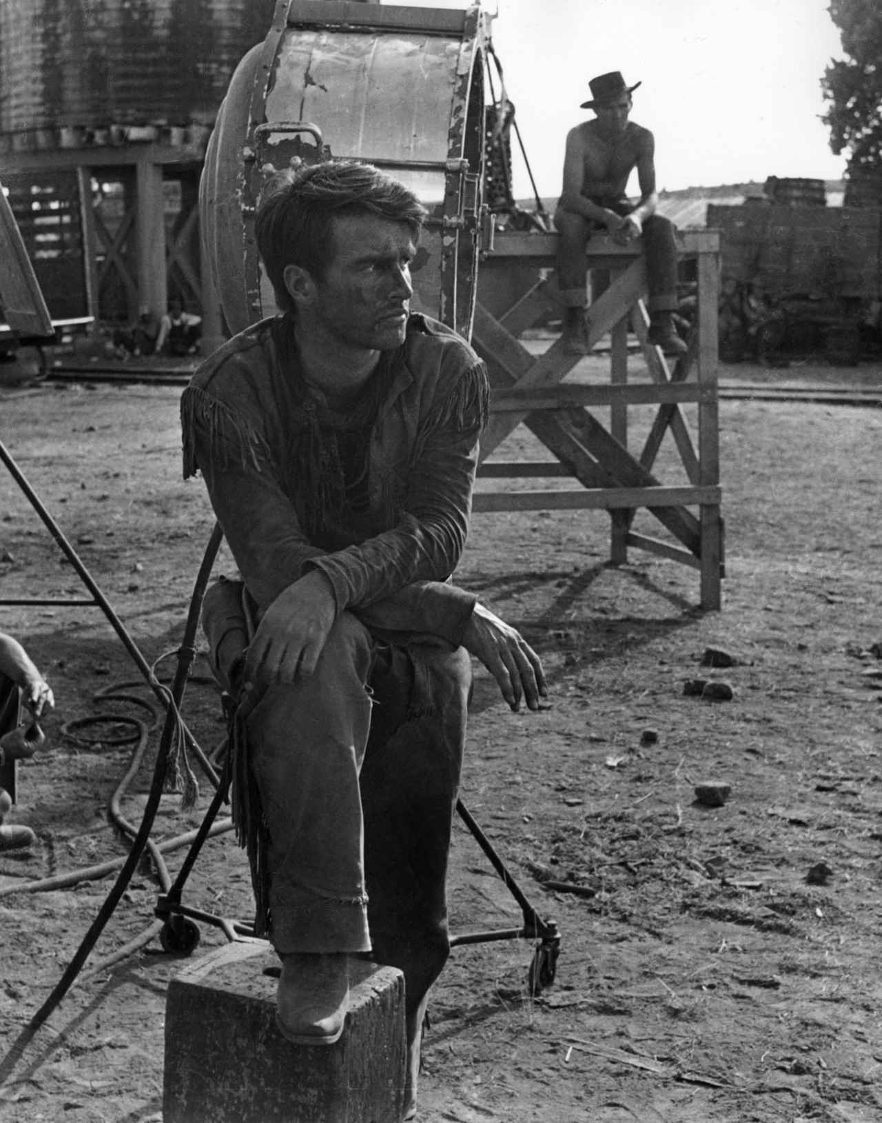 """Montgomery Clift taking a break on the set of """"Red River"""",1948"""