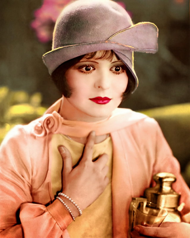 Clara Bow, Silent Film Star, ColourPortrait