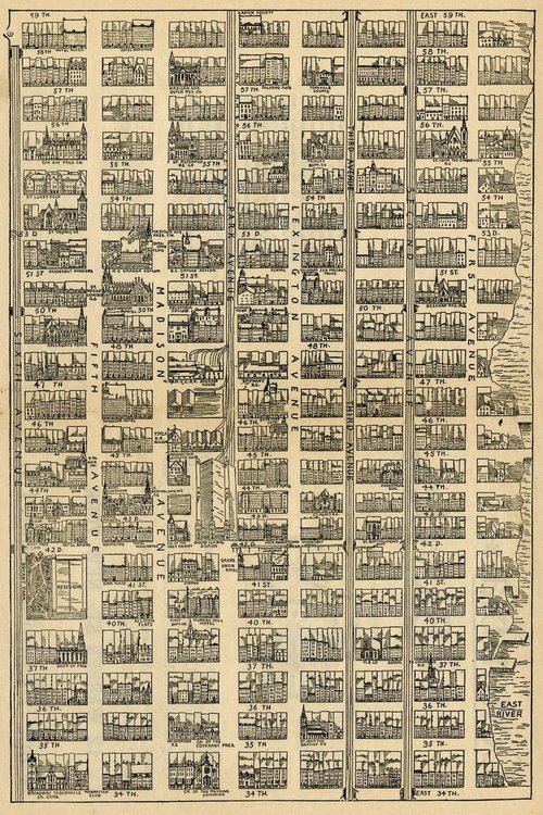 Map of a section of the east side of Manhattan, NYC,1890