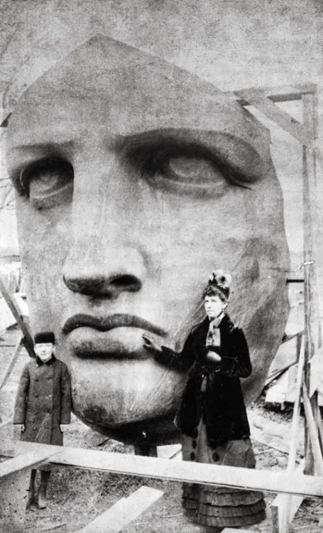Unpacking the face portion of the Statue of Liberty upon its arrival from France, 1885