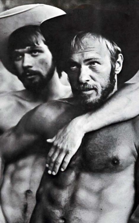 Shirtless Cowboys Together