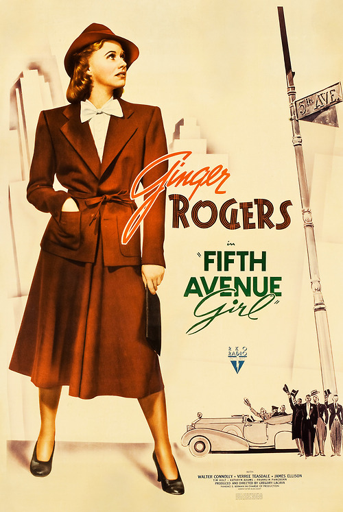"""Ginger Rogers, as a brunette, in """"Fifth Avenue Girl"""",1939"""