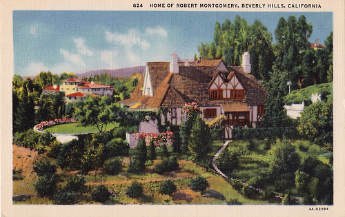 Post cards of movie stars homes in hollywood 1930s for Movie star homes beverly hills