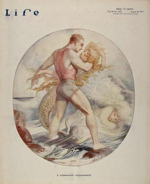 A submarine engagement – Life magazine cover,1919
