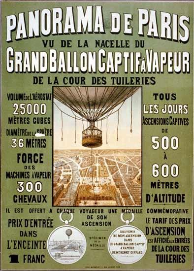 Panorama de Paris, vu de la nacelle du grand ballon captif avapeur