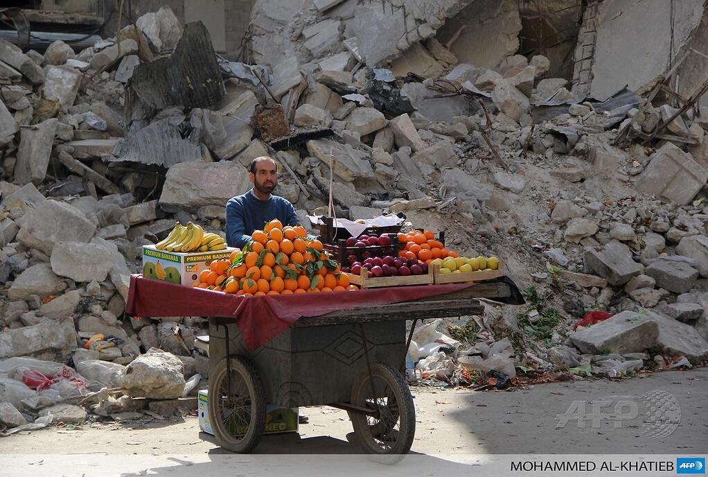 A fruit seller in Syria
