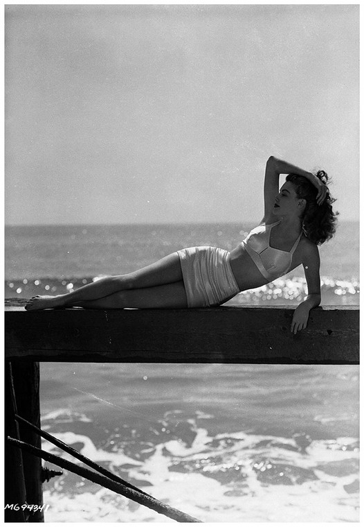 Young Ava Gardner at thebeach