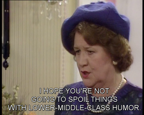 """Patricia Routledge as Hyacinth Bucket (pronounced """"Bouquet"""") in """"Keeping Up Appearances"""""""