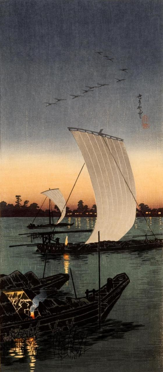 JAPANESE ART boat 23425