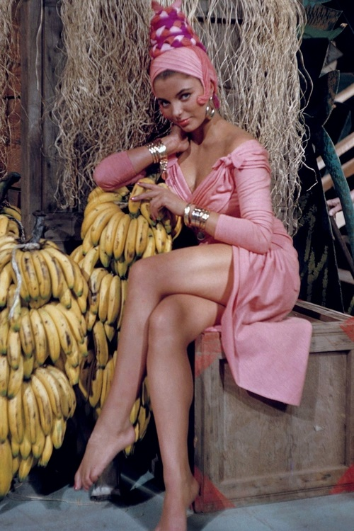 The banana boat just came in and look who's on it – Miss Joan Collins!