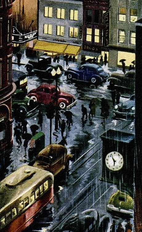 Rainy street at night, 1930s