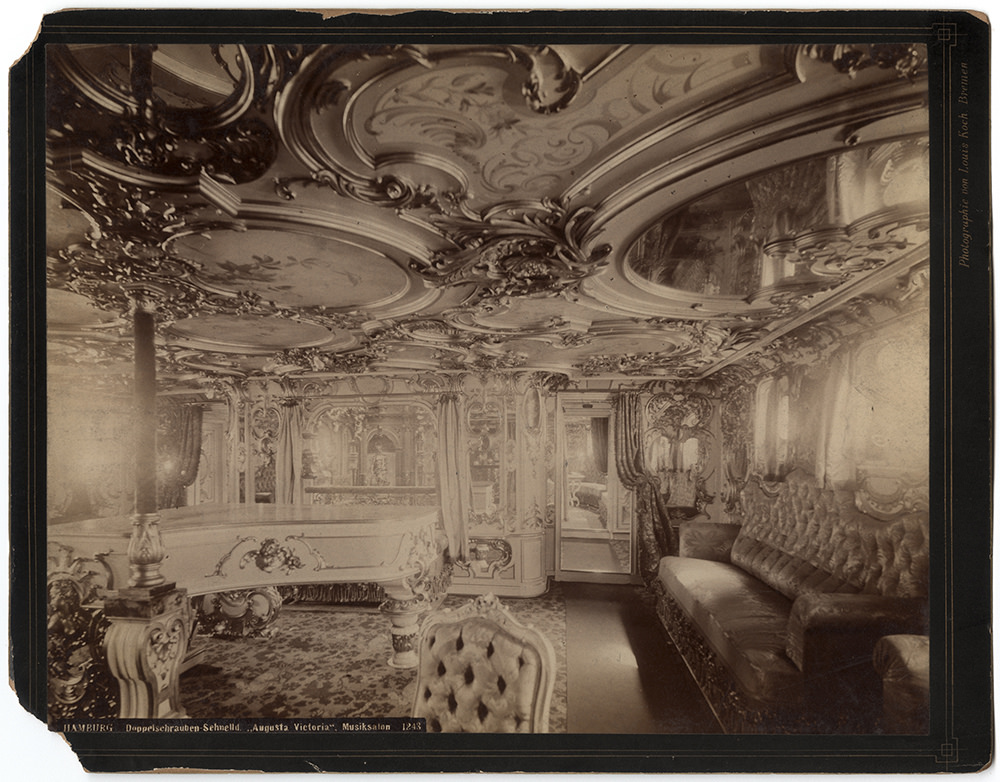 Interior of a trans-Atlantic Hamburg-Amerika line ship, 1880s
