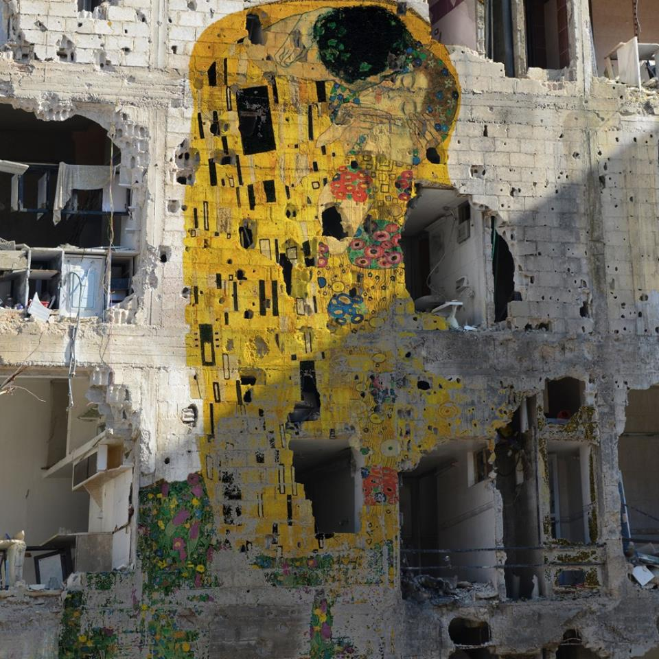 A Klimt painting painted onto a wall of a building destroyed in the Syrian Civil War, by Tammam Azzam