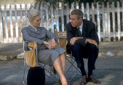 "Kim Novak and James Stewart taking a break during the filming of ""Vertigo"""