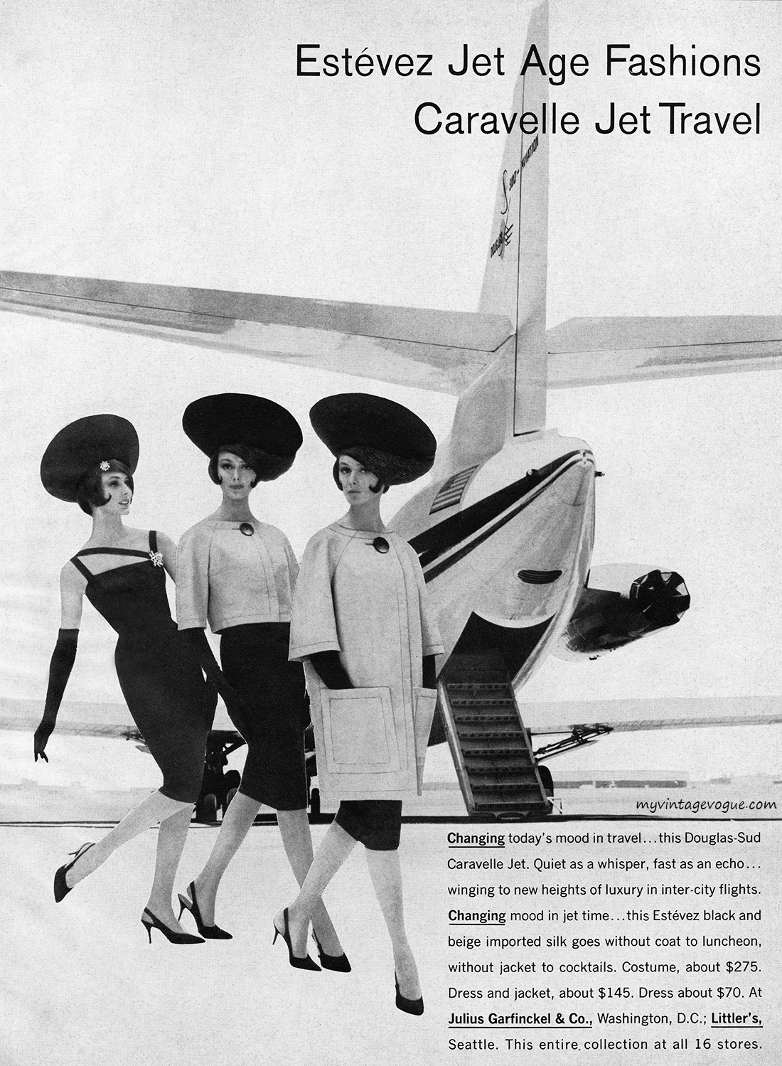 Caravelle Jet Fashion – ad for both the plane and the clothes,1960s