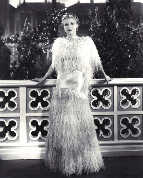 Ginger Rogers in an ostrich feather dress she designed herself