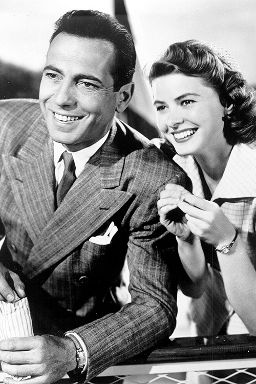 "Humphrey Bogart and Ingrid Bergman in a studio promo shot for ""Casablanca"""