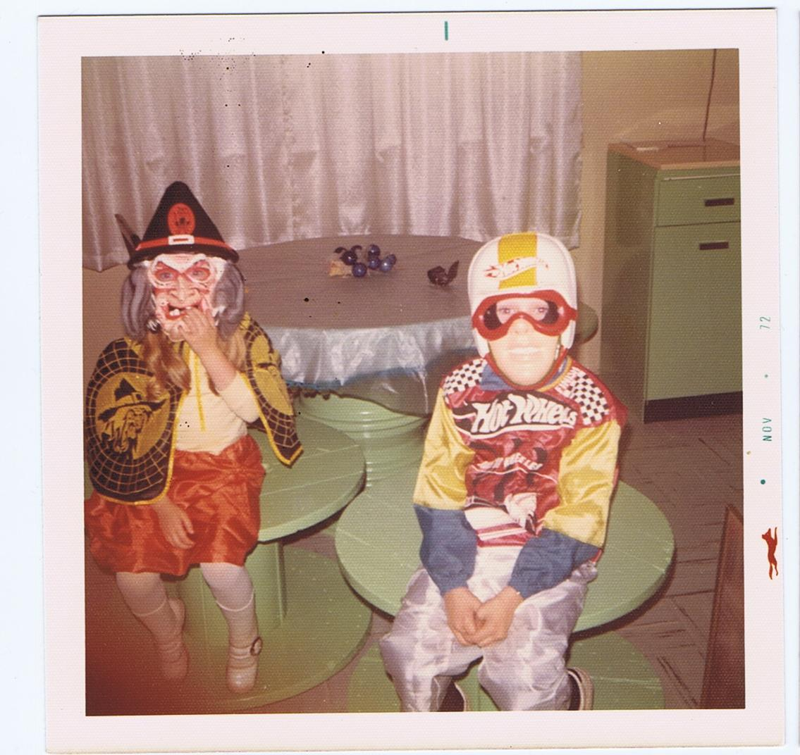 Kids in Halloween costumes, 1972