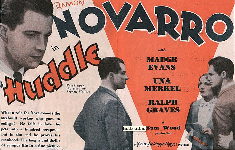 "Ramon Novarro ""proving his manhood"" in ""Huddle"""