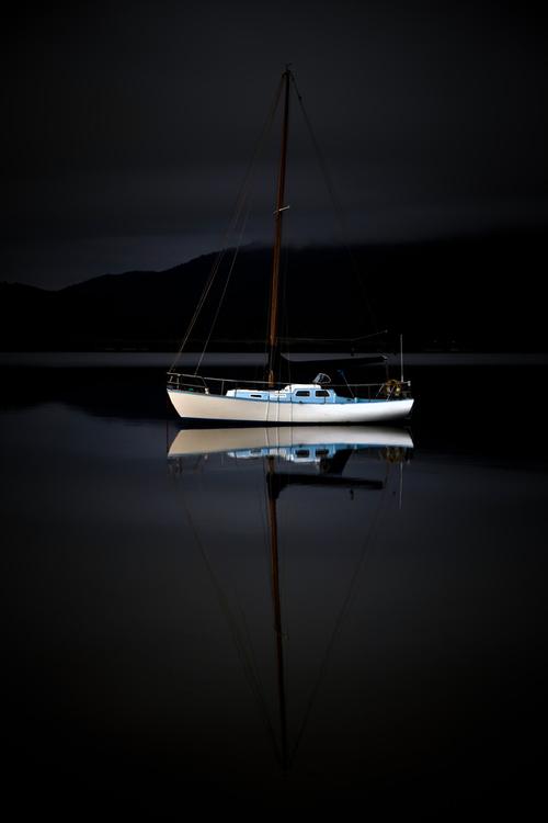 Sail boat at anchor, by BradGrove