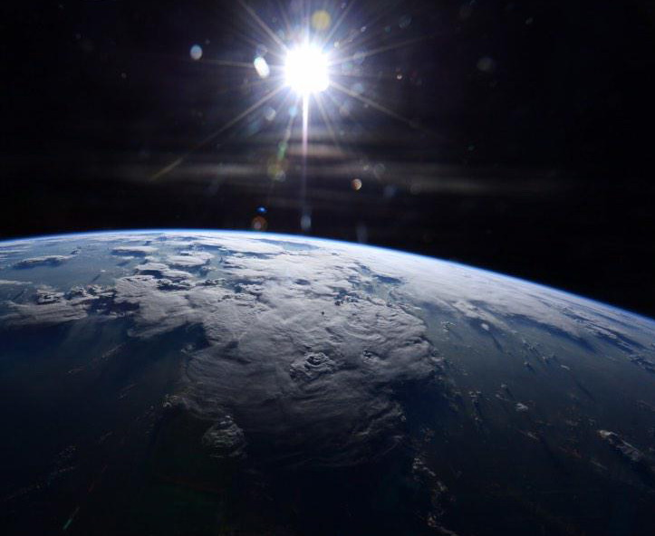 Earth and the sun from the International Space Station