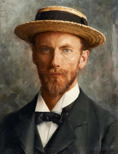 Painting of a French man with a straw hat and beard
