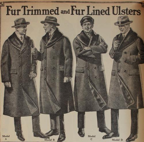 Men's fur trimmed coats, circa1900