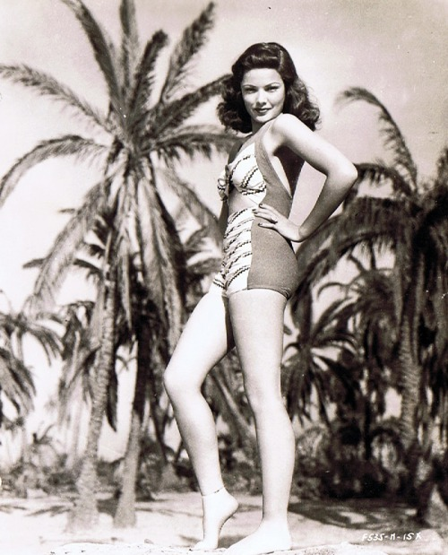 Gene Tierney in a bathing suit