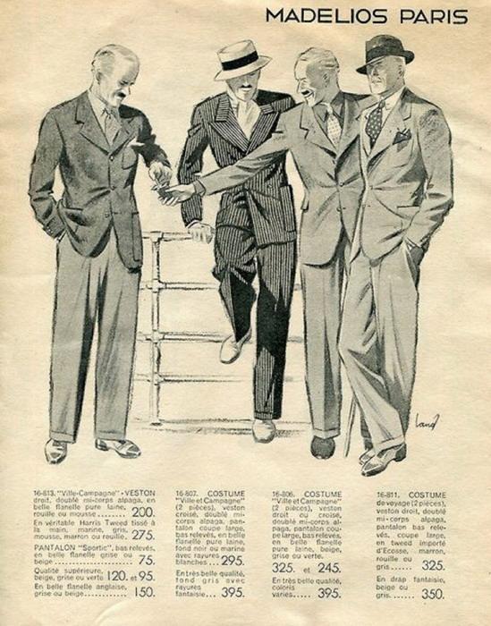 Men suits, France,1930s