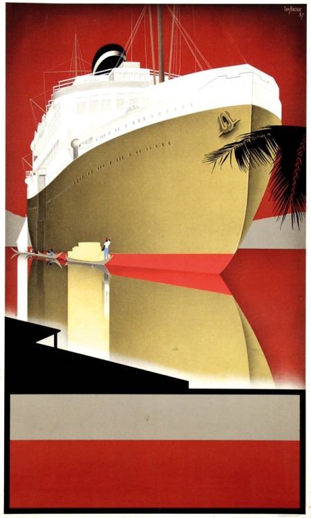 Graphic design for an ad for a big shipping line before the lettering was puton