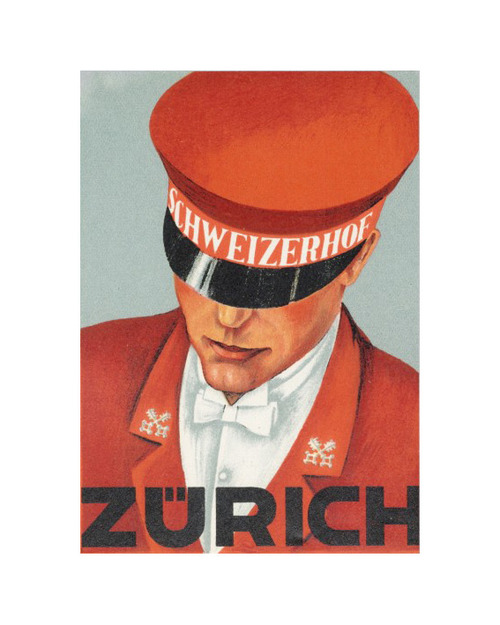 1925 Zurich hotel luggage sticker