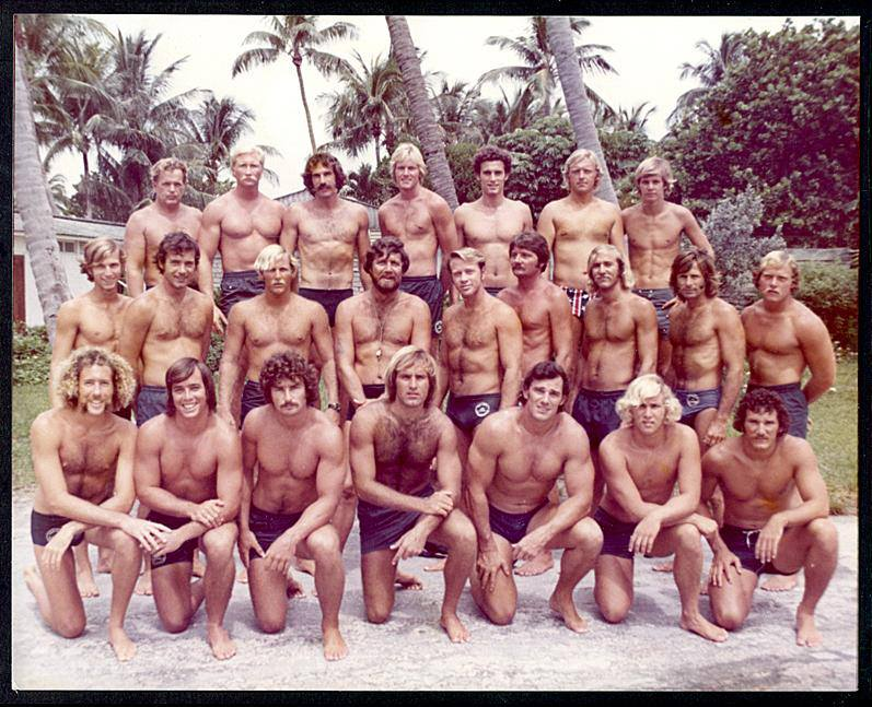 Group of men in swimsuits, circa 1970 (swim team? water pol team? lifeguards?)