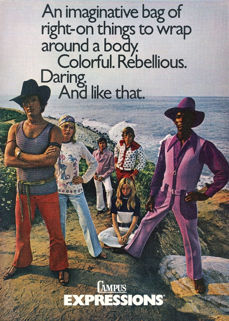 Campus Expressions, circa 1970, featuring the lilac and plum men's jumpsuit (with matching plum hat)