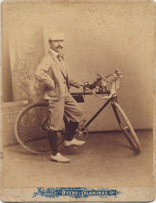 Vintage bicyclist with amoustache
