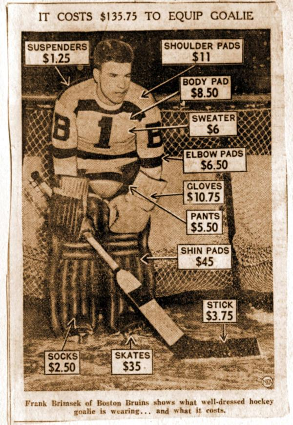 Cost Of Hockey Goalie Equipment Circa 1950 Matthew S Island