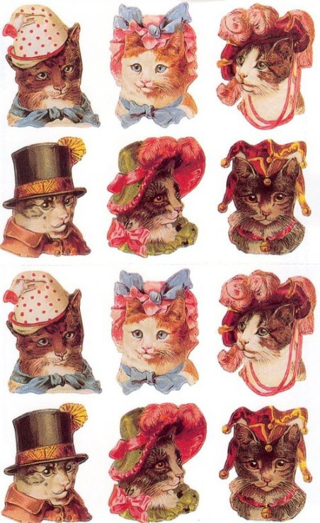 Cats in their finery, 1800s