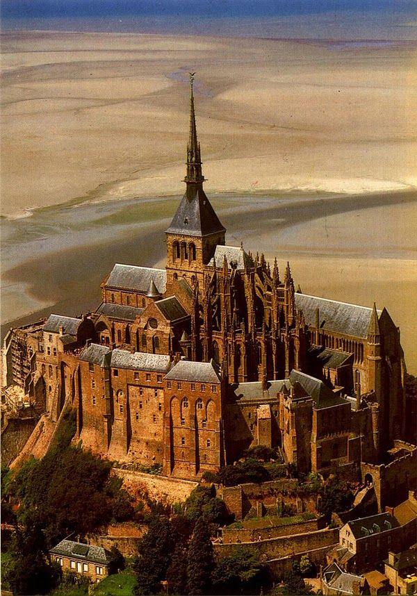 Mont St. Michel, France, at lowtide
