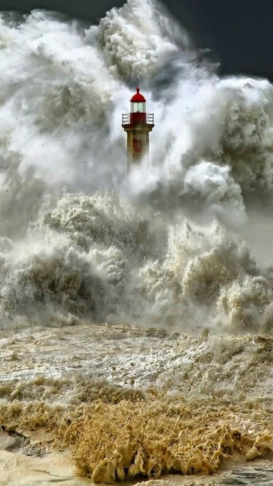 waves lighthouse france
