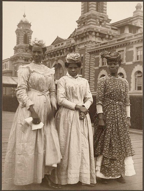 3 Women from Guadeloupe (French West Indies) arriving at US Immigration at Ellis Island, circa1910
